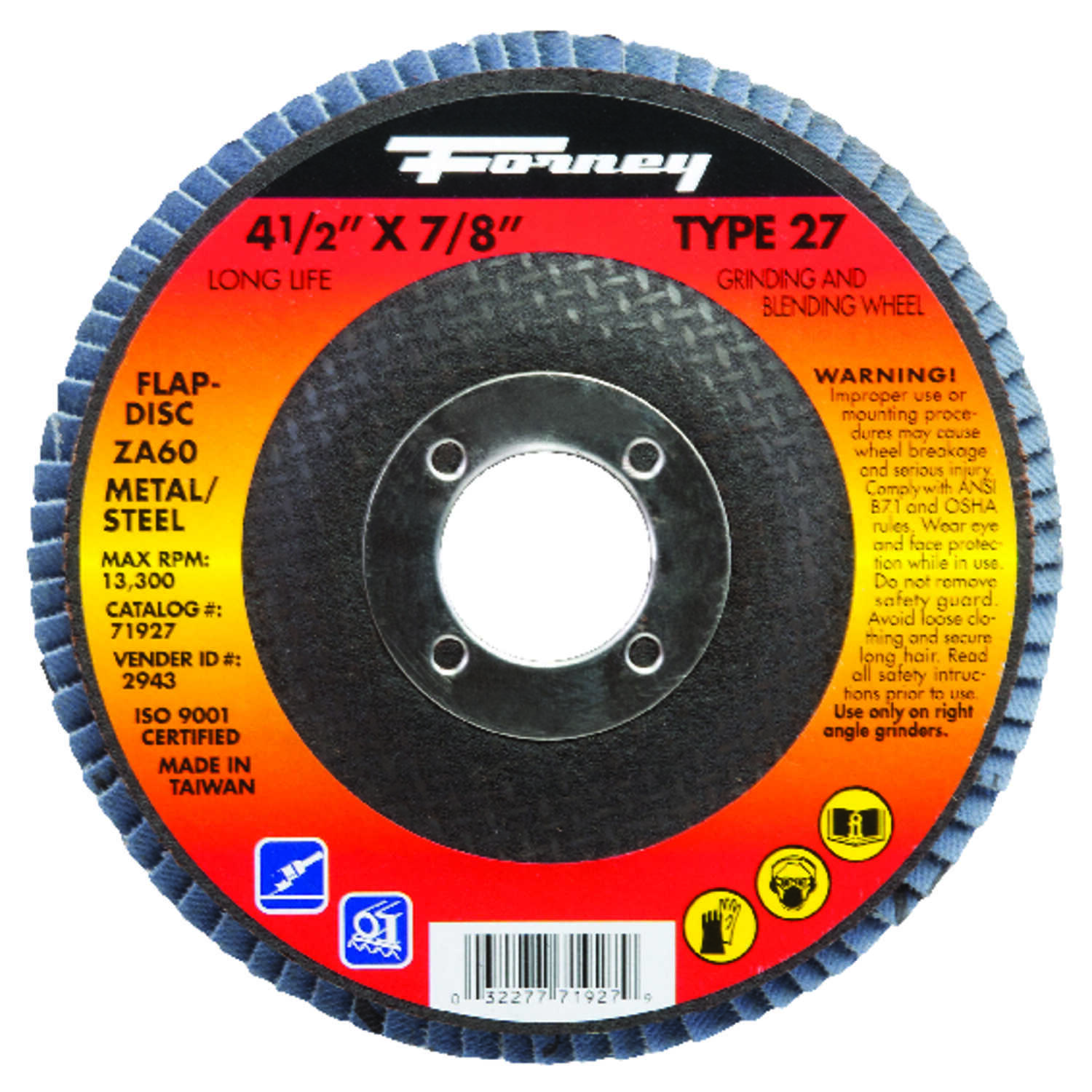 Forney  4-1/2 in. Dia. Zirconia Aluminum Oxide  Flap Disc  60 Grit Fine  13300 rpm 1 pc.