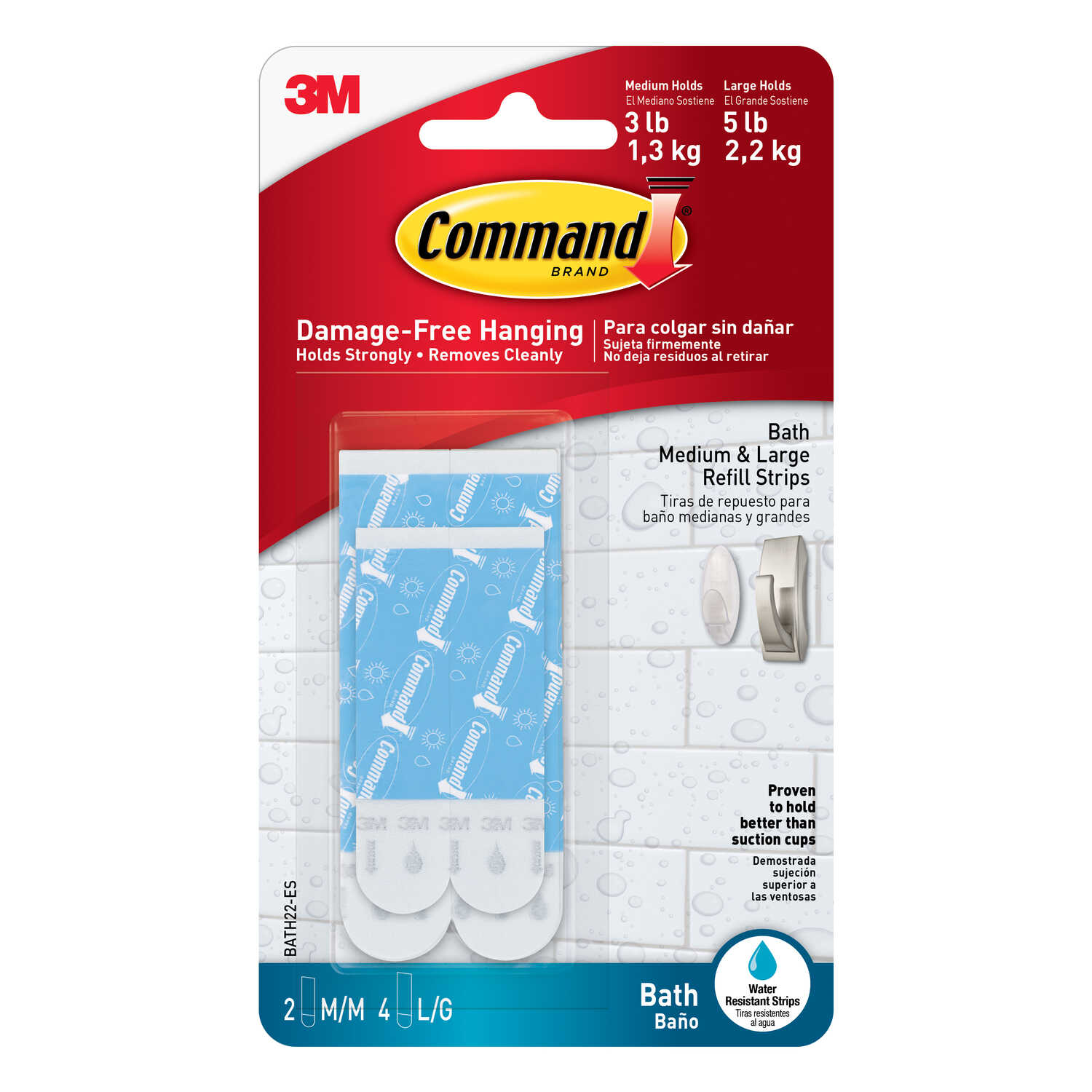 3M  Command  Assorted  Foam  Adhesive Strips  3-3/8 in. L 6 pk
