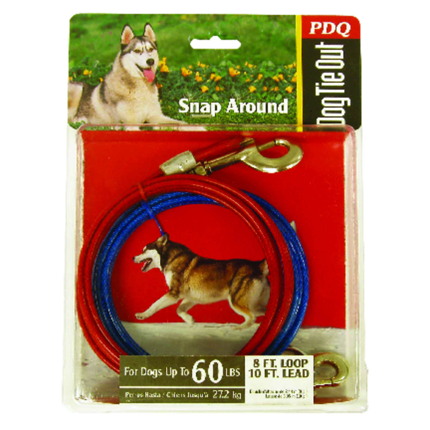 Boss Pet  Snap Around  Red  Vinyl Coated Cable  Dog  Tie Out  Large