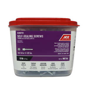 Ace  12-14 Sizes  x 1-1/2 in. L Hex  Hex Washer Head Zinc-Plated  Steel  Self-Sealing Screws  5 lb.