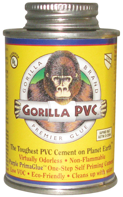 Gorilla PVC  PrimaGlue  Purple  For PVC Primer and Cement  8 oz.