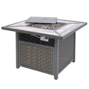 Living Accents  Gas Fire Table  Propane  Fire Table  24.61 in. H x 37.2 in. W x 37.2 in. D Steel