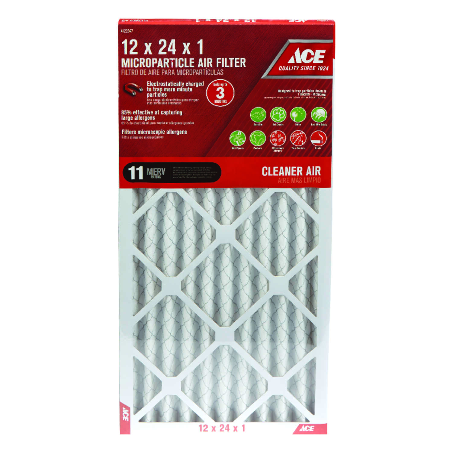 Ace  24 in. H x 12 in. W x 1 in. D Pleated  10 MERV Microparticle Air Filter