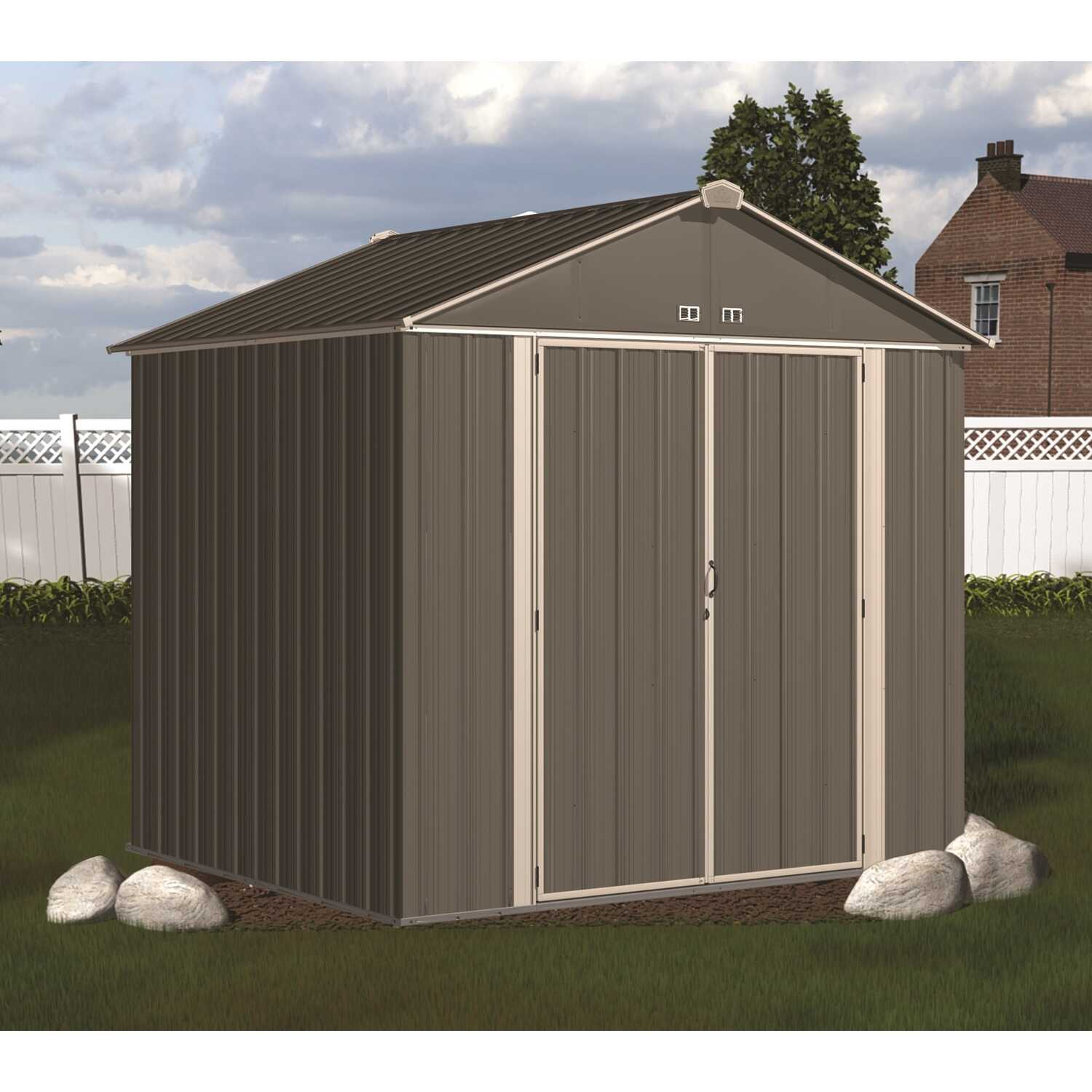 Arrow  Ezee  7.6 ft. H x 8 ft. W x 7 ft. D Charcoal / Cream  Galvanized Steel  Storage Shed