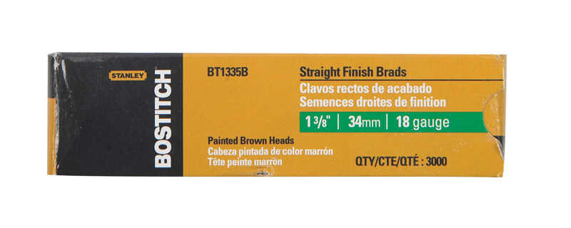 Stanley Bostitch  18 Ga. Smooth Shank  Straight Strip  Brad Nails  1-3/8 in. L x 0.1 in. Dia. 3,000