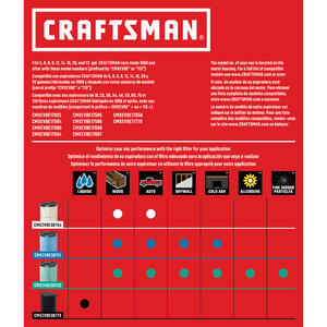 Craftsman  6.75 in. L x 6.88 in. W x 6-3/4 in. Dia. Wet Application Filter  1 pc.