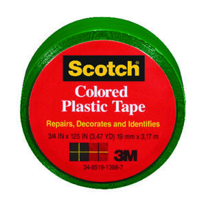 Scotch  Green  125 in. L x 3/4 in. W Plastic Tape