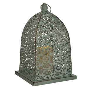 Paradise Lighting  Metal  Flameless Lantern  Aqua