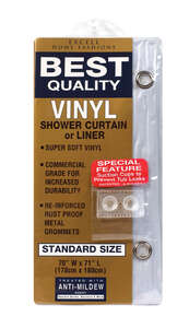 Excell  70 in. H x 71 in. W Clear  Shower Curtain Liner  Solid