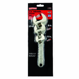 Craftsman  Metric and SAE  Adjustable Wrench Set  Steel  3 pc.