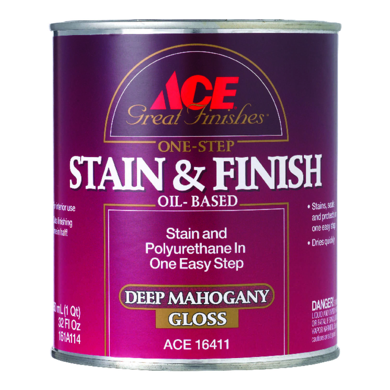 Ace  Great Finishes  Semi-Solid  Gloss  Deep Mahogany  Oil-Based  Oil  Wood Stain and Sealer  1 qt.