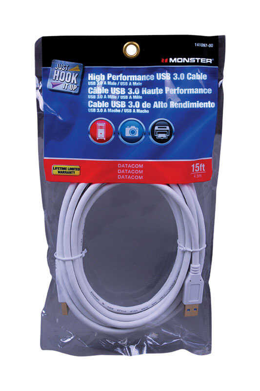 Monster Cable  Just Hook It Up  15 ft. L USB Cable