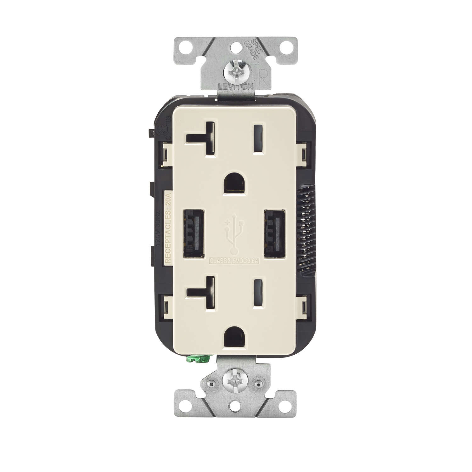 Leviton Decora 20 amps 125 volt Light Almond Outlet and USB Charger 5-20R