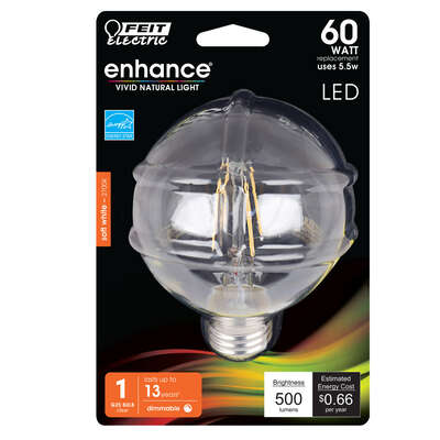 Feit Electric  G25  E26 (Medium)  Filament LED Bulb  Natural Light  1 pk
