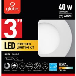 Globe Electric  LED Recessed Lighting Kit  Frost  White  3 inch  W Metal  LED  Recessed Light  40 wa