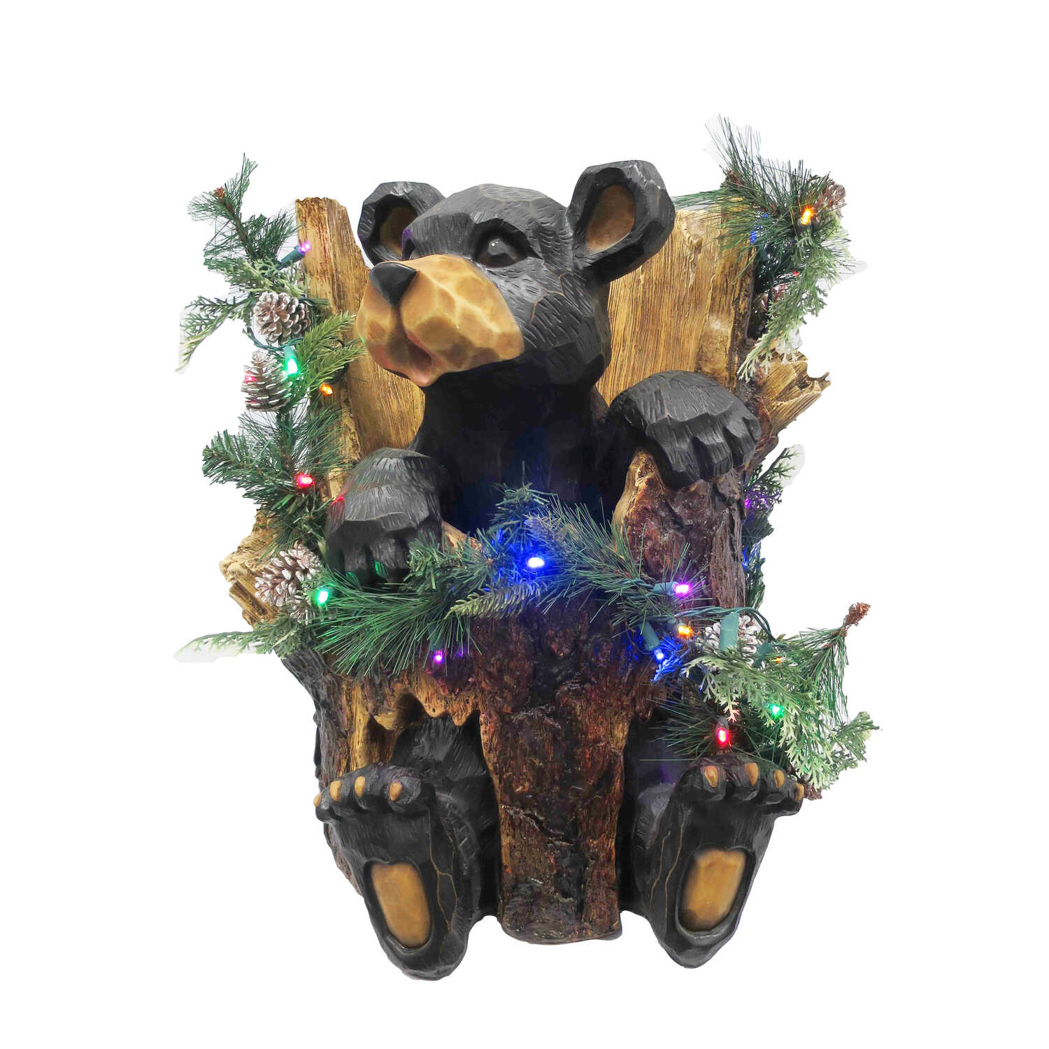 CHT  Bear in Trunk  Christmas Decoration  Brown  1 pk Polyresin