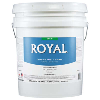 Royal Satin Tint Base Ultra White Base Paint and Primer Interior 5 gal.