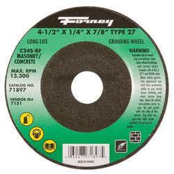 Forney 4-1/2 in. Dia. x 1/4 in. thick x 7/8 in. Masonry Grinding Wheel 1 pc.