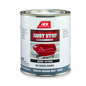 Ace  Rust Stop  Indoor and Outdoor  Gloss  Interior/Exterior  Rust Prevention Paint  1 qt. Medium Gr