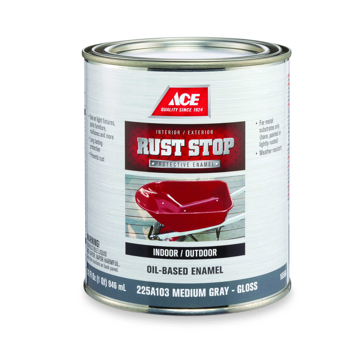 Ace  Rust Stop  Indoor and Outdoor  Gloss  Medium Gray  Rust Prevention Paint  1 qt.