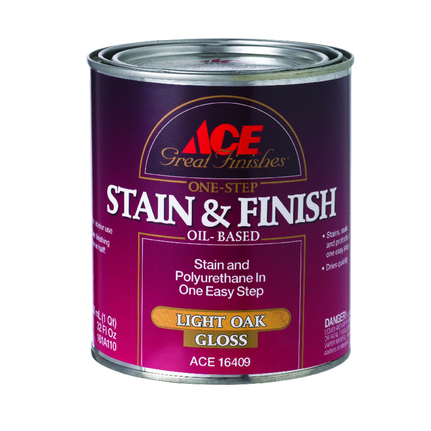 Ace  Great Finishes  Semi-Solid  Gloss  Light Oak  Oil-Based  Oil  Wood Stain and Sealer  1 qt.