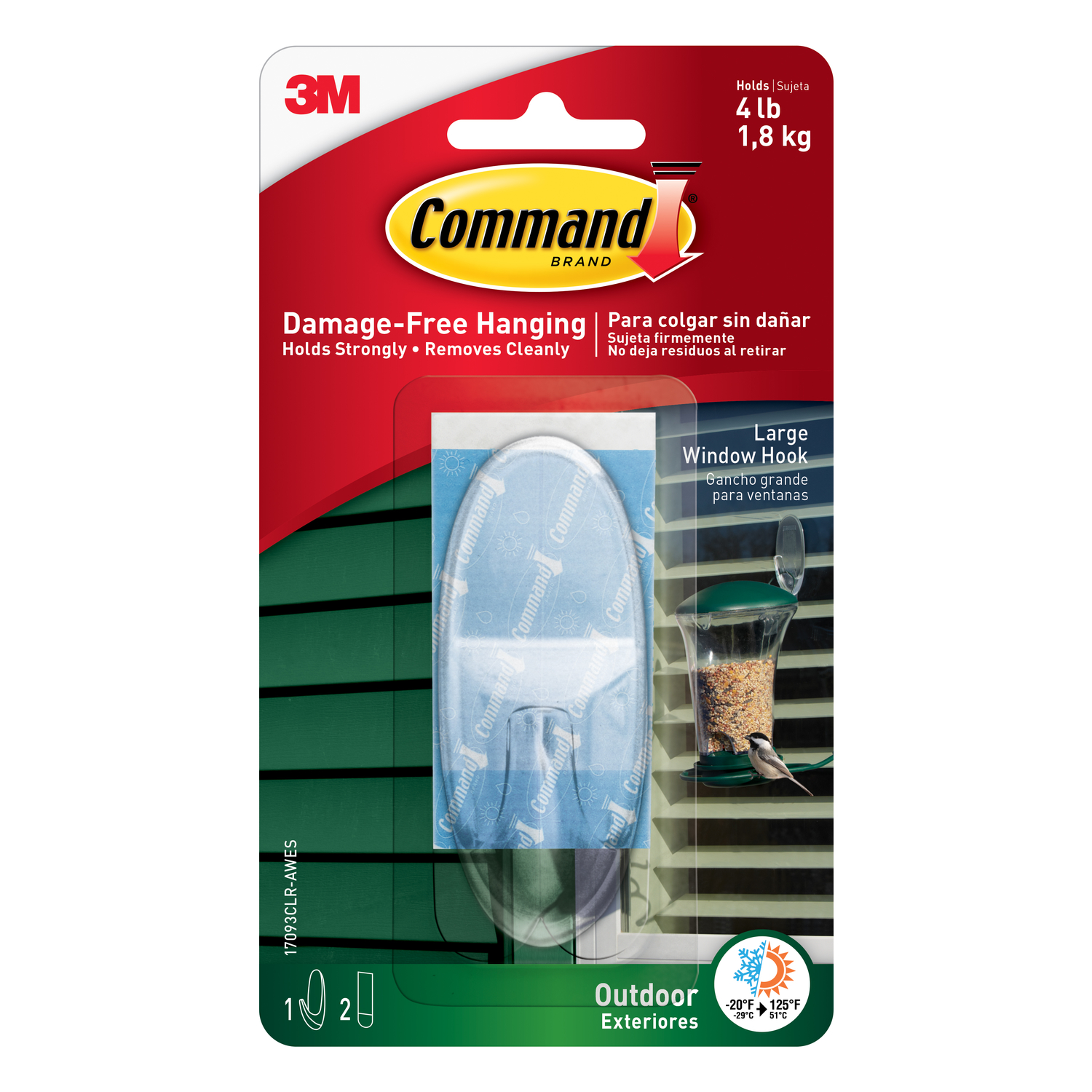 3M  Command  Large  Plastic  3-3/8 in. L 1 pk Hook