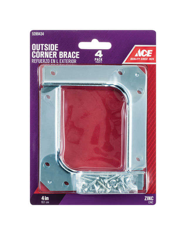 Ace  4 in. H x 5.25 in. W x 4 in. D Zinc  Outside  Corner Brace