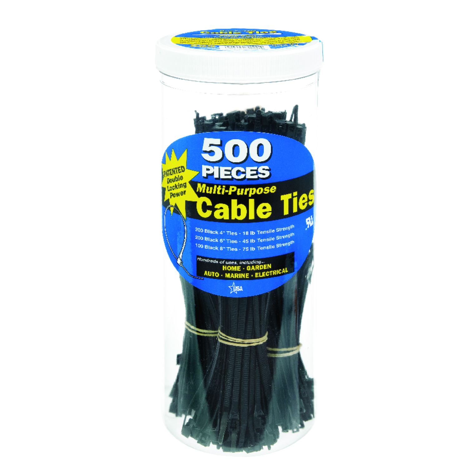 Gardner Bender  DoubleLock  4, 6, 8 in. L Black  Cable Tie  500 pk