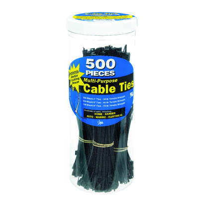 Calterm  8 in. L Black  Cable Tie  500 pk