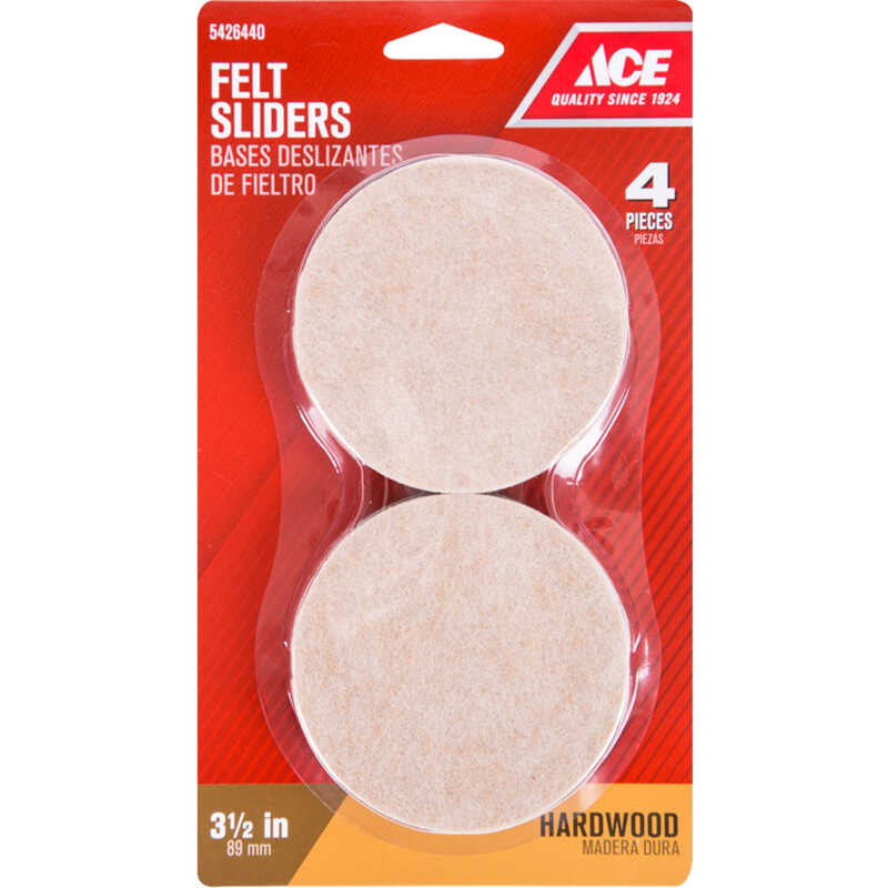 Ace  Felt  Slide Glide  Brown  Round  3-1/2 in. W 4 pk Self Adhesive