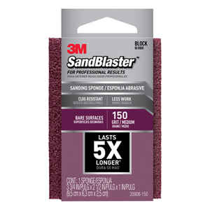 3M  3-3/4 in. L x 1 in.  150 Grit Medium  Sanding Sponge