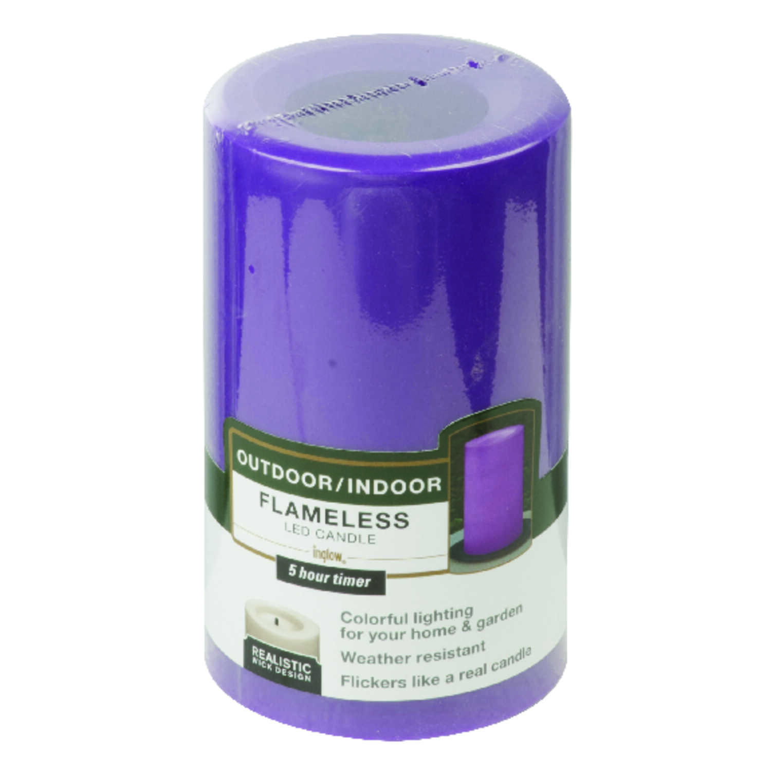 Paradise lighting  Purple  Candle  5 in. H x 3 in. Dia.