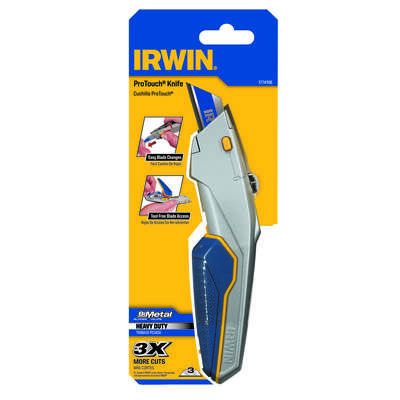 Irwin  ProTouch  9.16 in. Retractable  Utility Knife  Blue  1 pc.