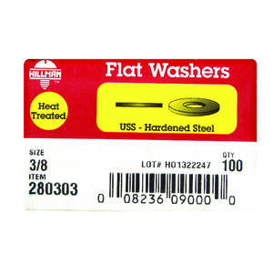 Hillman  Yellow Dichromate  Steel  3/8 in. USS Flat Washer  100 pk