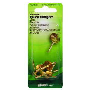 Hillman  AnchorWire  Brass-Plated  Assorted  Quick Hanger  Brass  10 lb. 6 pk