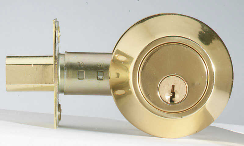 Home Plus  Polished Brass  Brass  Single Cylinder Deadbolt