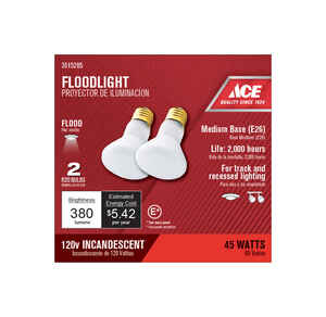 Ace  45 watts R20  Incandescent Light Bulb  380 lumens Frosted  2 pk Floodlight