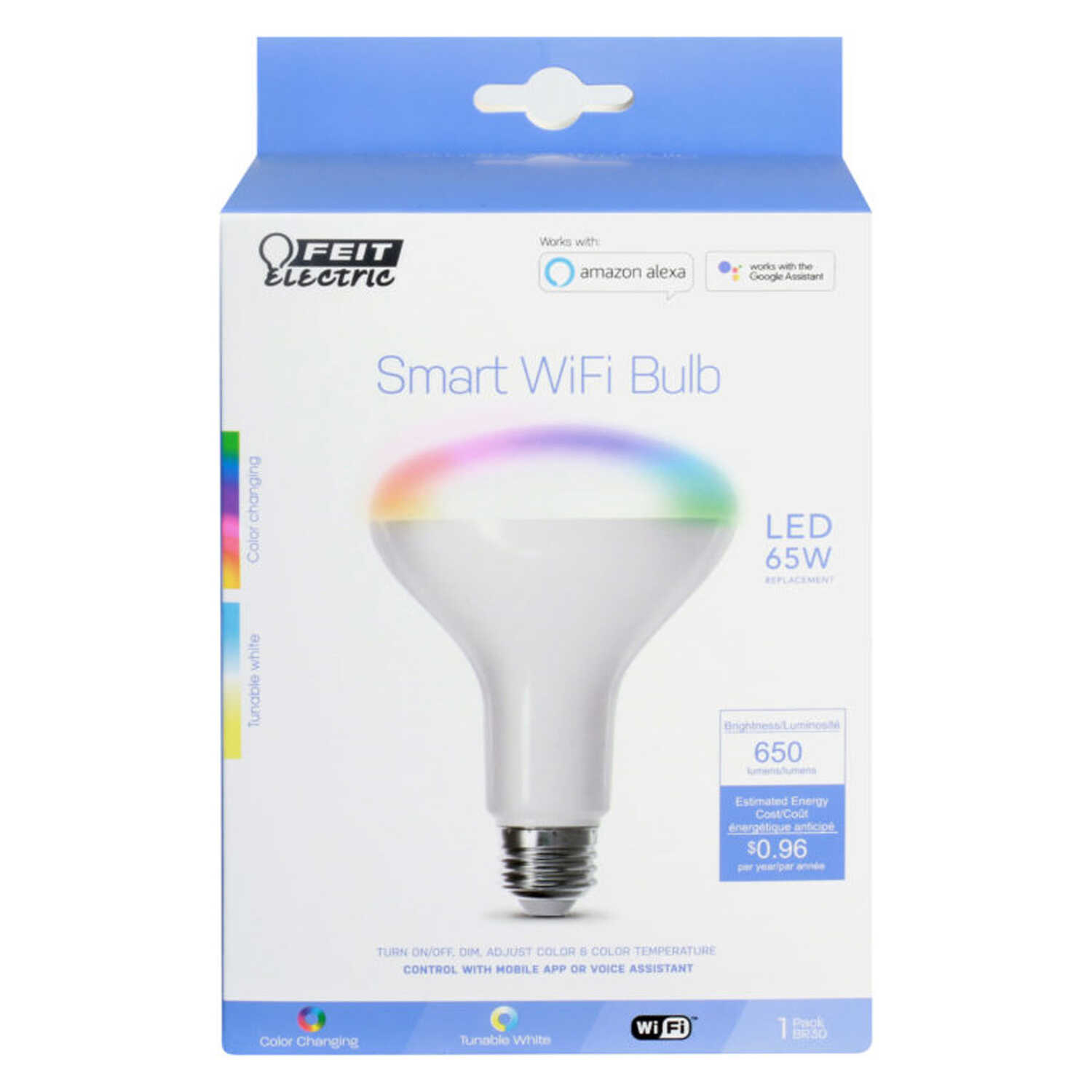 FEIT Electric  8 watts BR30  Smart WiFi LED Bulb  650 lumens Color Changing  Specialty  65 Watt Equi