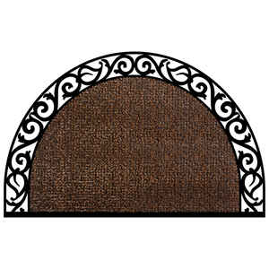 GrassWorx  Wrought Iron Style  Halfmoon  Coffee Bean  Polyethylene/Rubber  Nonslip Door Mat  36 in.