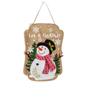 Evergreen  Let It Snow Snowman  Door Hanger  Tan  Polyester  1 pk