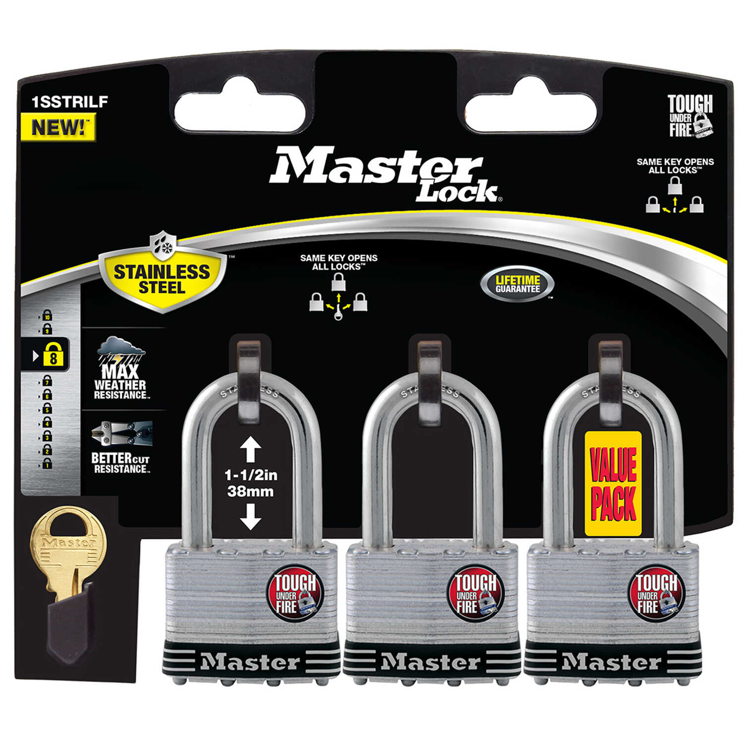 Master Lock  1-3/4 in. W Stainless Steel  4-Pin Cylinder  Padlock