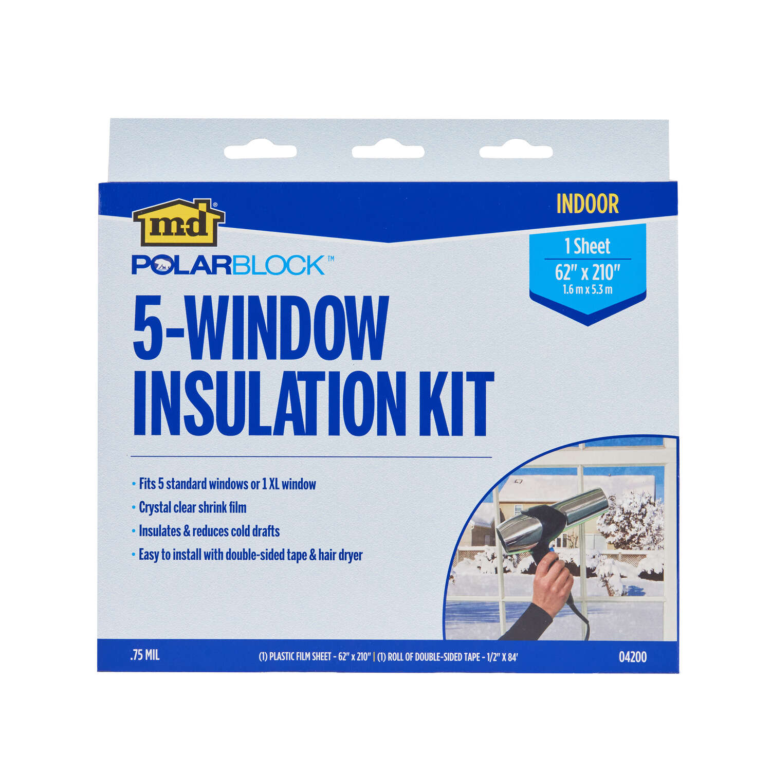 M-D  Shrink & Seal  Clear  Indoor  Window Film Insulator Kit  62 in. W x 210 in. L