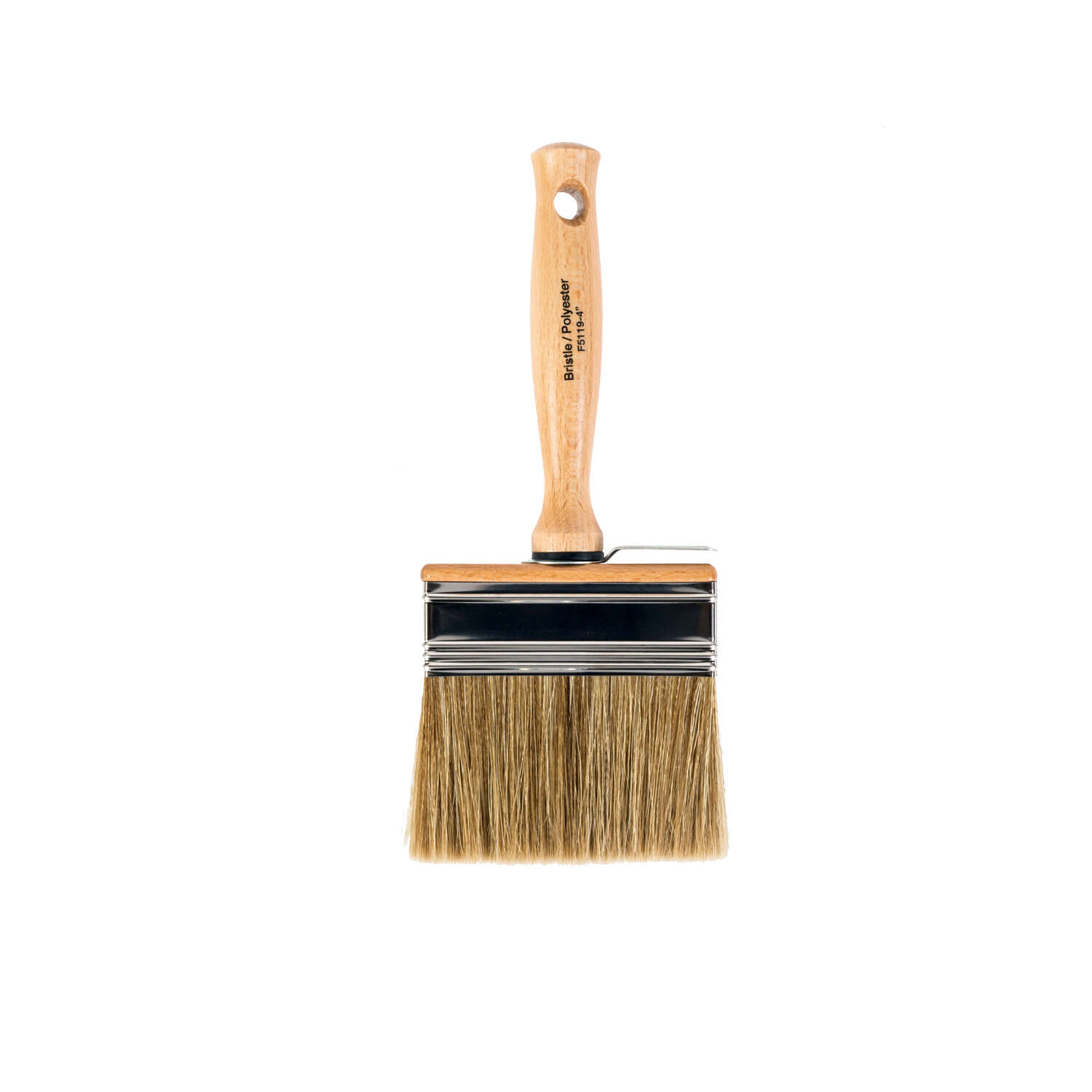Wooster  4 in. W Flat  Polyester and White China Bristle  Paint Brush  Bravo Stainer