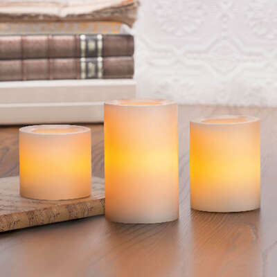 Inglow  Butter Cream  Vanilla Scent Pillar  Candle  4, 5, & 6 in. H