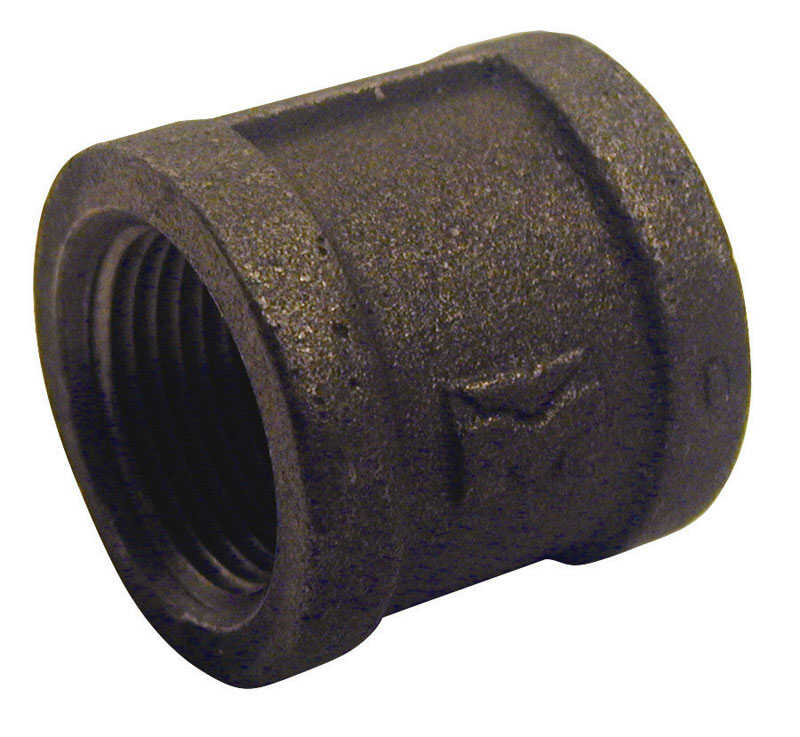 B & K  1-1/4 in. FPT   x 1-1/4 in. Dia. FPT  Black  Malleable Iron  Coupling