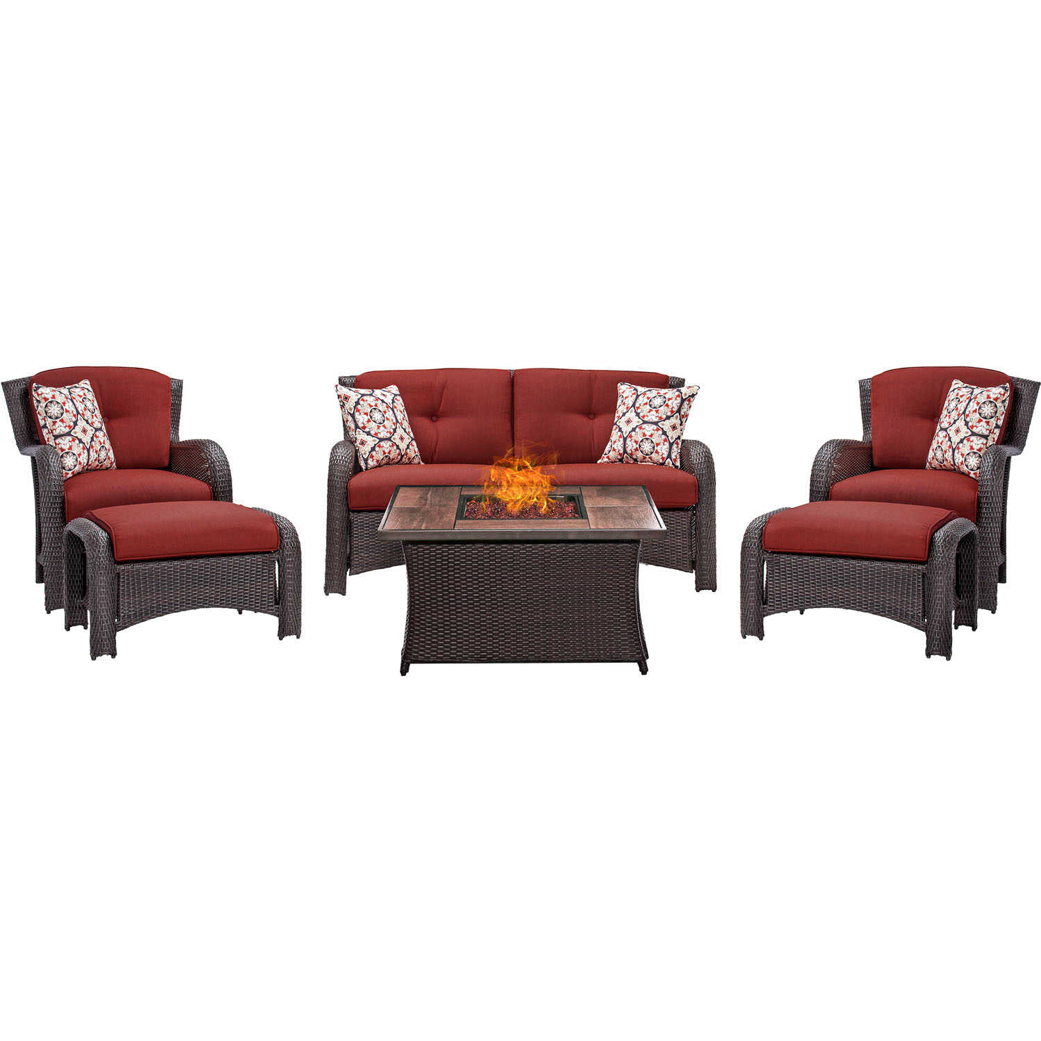 Hanover  Strathmere  6 pc. Espresso  Steel  Firepit Seating Set  Red