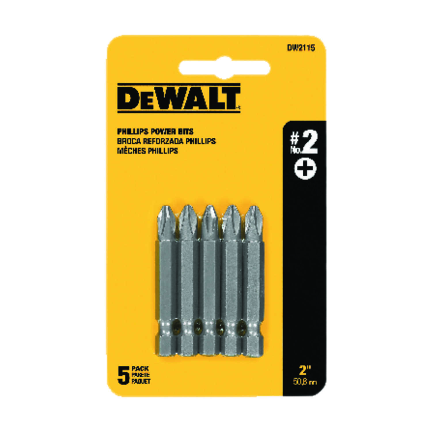 DeWalt  Phillips  #2   x 2 in. L Power Screwdriver Bit  Heat-Treated Steel  5 pc.