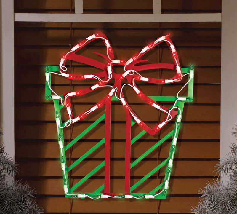 Impact Innovations  Lit Present Silhouette  Christmas Decoration  Red/Green  PVC  1 pk