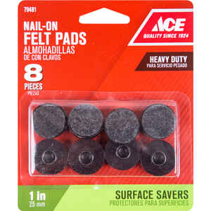Ace  Felt/Plastic  1 in. Tap On  Cushioned Glide  8 pk
