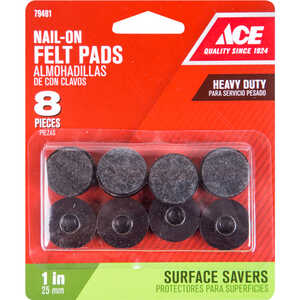 Ace  0.8 in. W Felt/Plastic  1 in. Tap On  Cushioned Glide  8